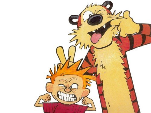 Calvin & Hobbes doing what they do.