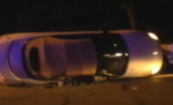 Sandra Daniels car on its side after the crash.
