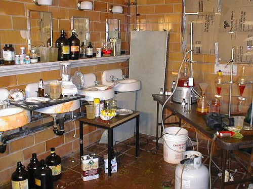Meth labs can be cluttered, and dangerous.