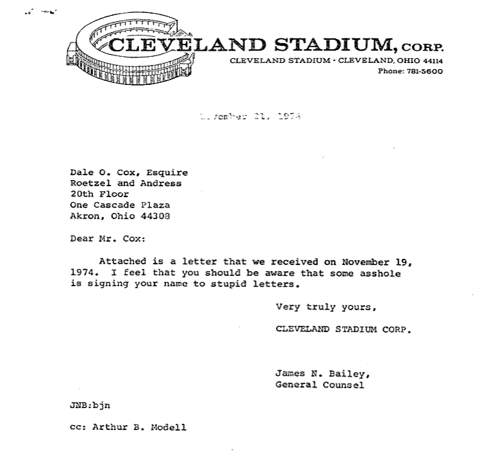Absolutely epic 1974 letter from cleveland browns to a fan 64 picture754g pronofoot35fo Choice Image