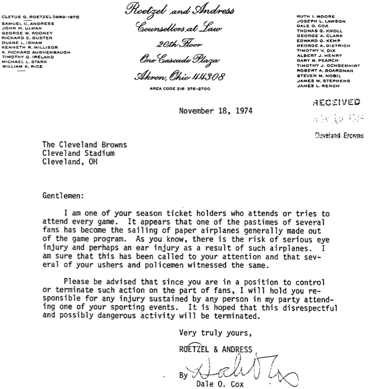 Absolutely epic 1974 letter from cleveland browns to a fan 64 and picture755g thecheapjerseys Choice Image