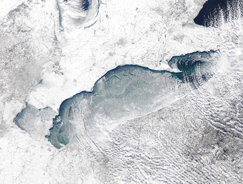 Lake Erie from space? or a close-up of a Clevelanders eczema after two months of winter?